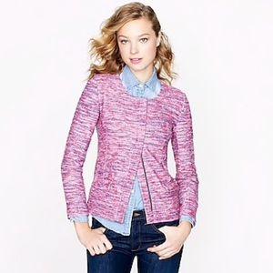 J. Crew Micro Tweed Jacket Blazer Poppy Pink Zip